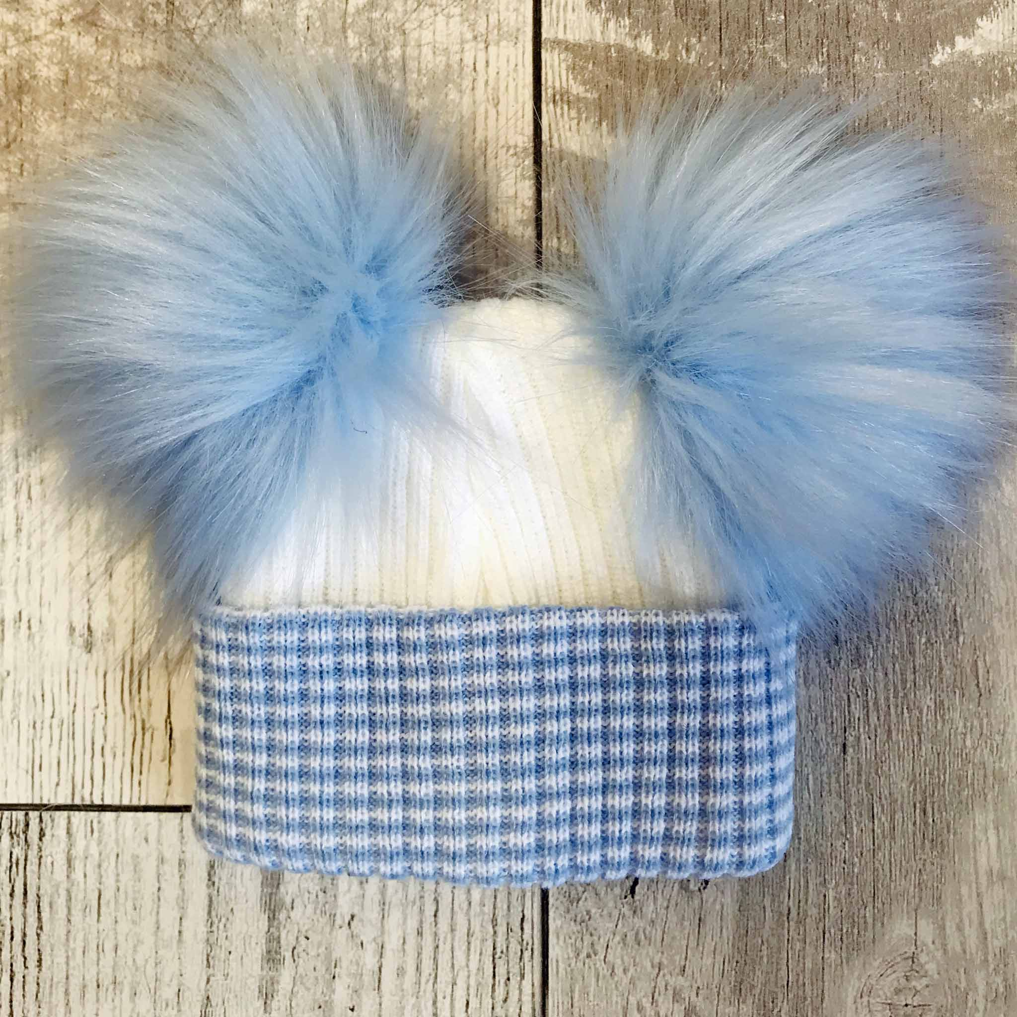 double pom baby hat blue