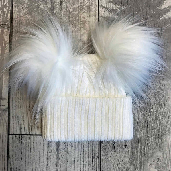 Personalised Baby Double Pom Hat - White  - Unisex