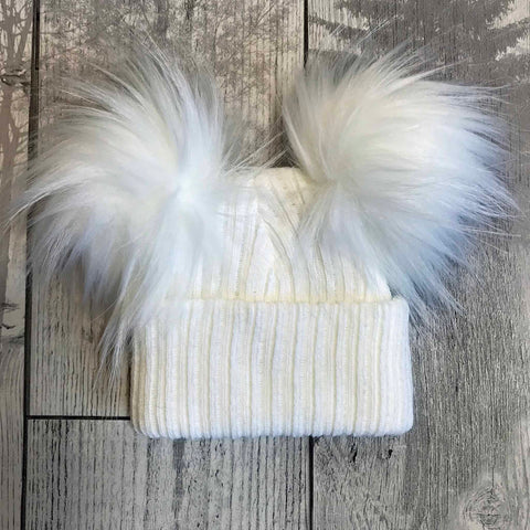 Baby Double Pom hat - White - Personalised hat - Unisex