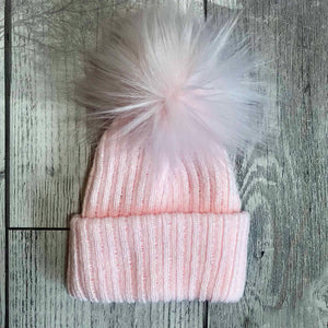 Pink Baby Pom Pom hat - Pastel Colour Bobble Hat