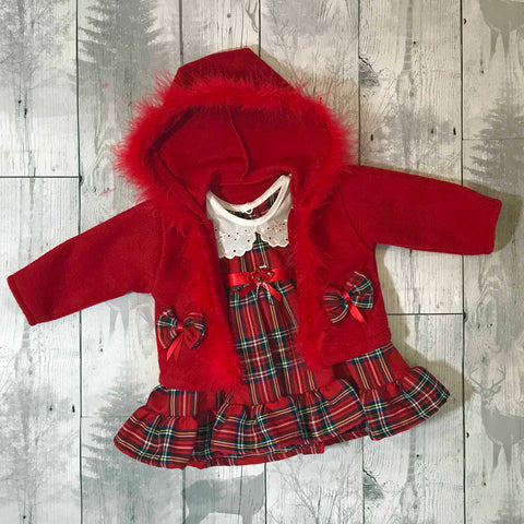 tartan baby dress and jacket