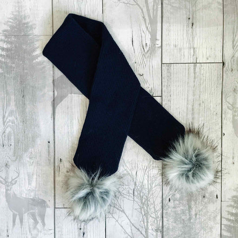 Navy Blue Baby Scarf with Faux Fur pom poms