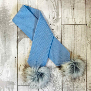 baby blue baby scarf with pom poms