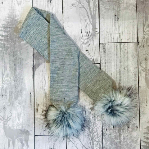 grey baby scarf with pom poms personalised