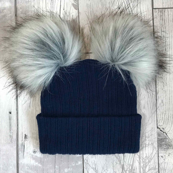 Navy Blue Double Pom Pom Baby Hat-Can be Personalised
