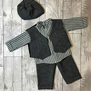 Baby Boys 4 piece Peaky Blinder outfit. Trousers, Shirt, Waistcoat and Hat
