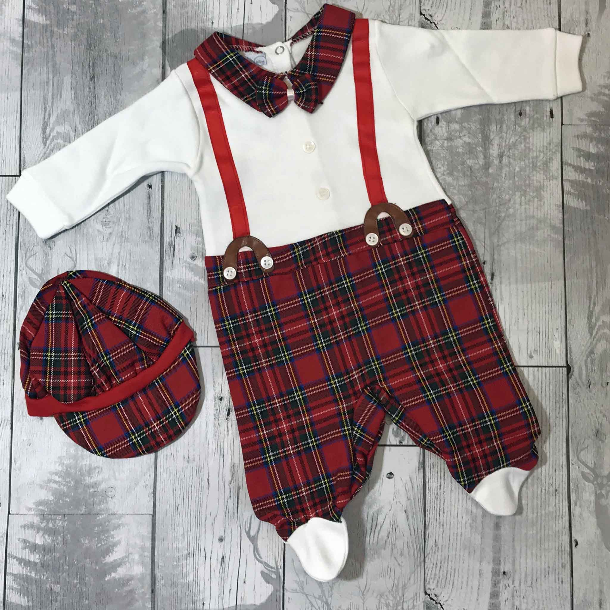 baby boy tartan christmas outfit