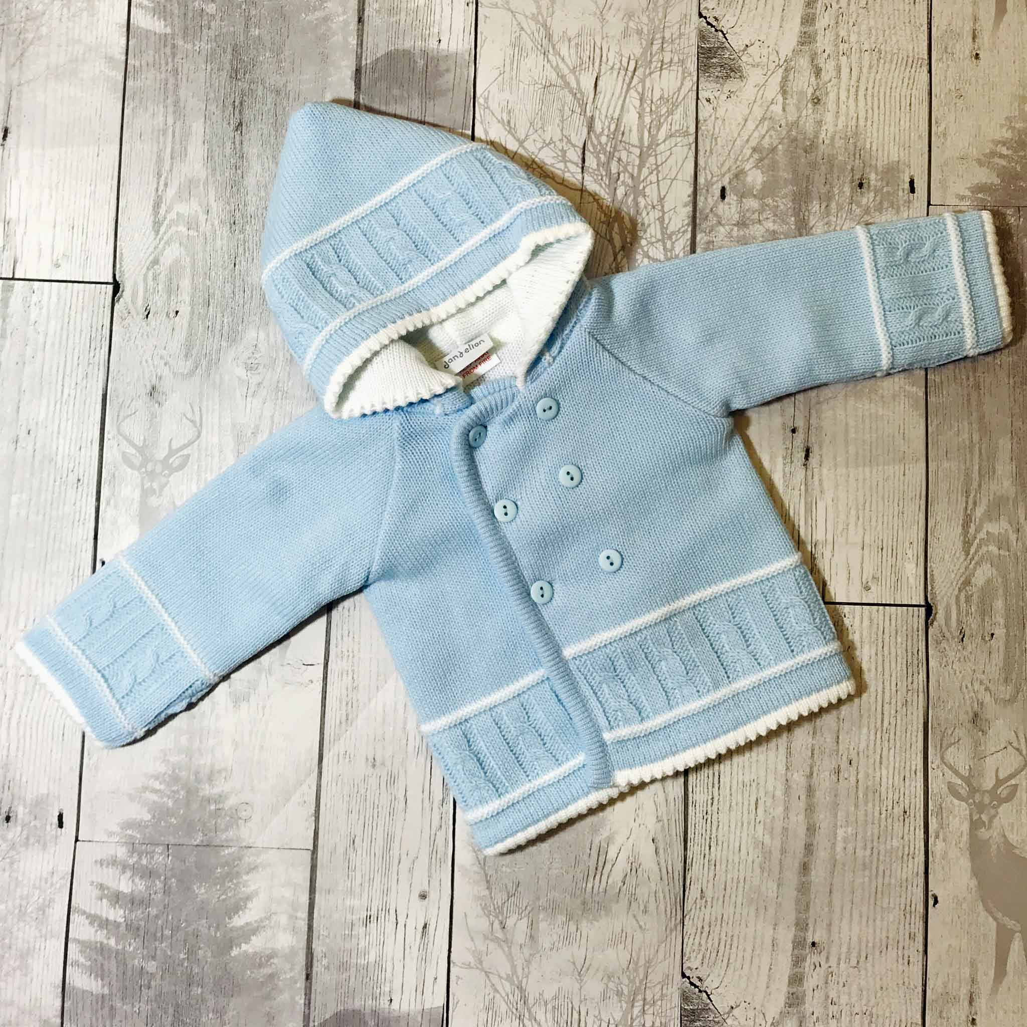 baby boys knitted jacket with hood dandelion