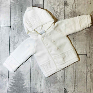 white knitted baby jacket coat