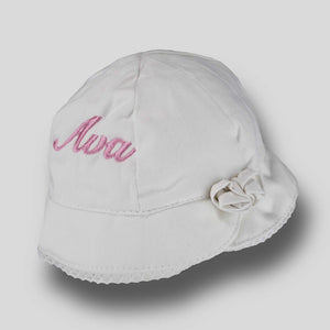 Personalised Baby Girls Summer Rose Bucket Sun Hat