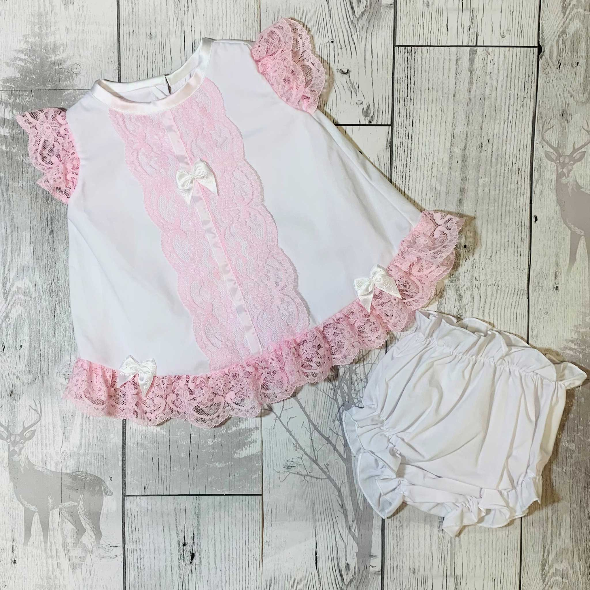 Baby Girl Dress and Knickers Outfit - White / Pink