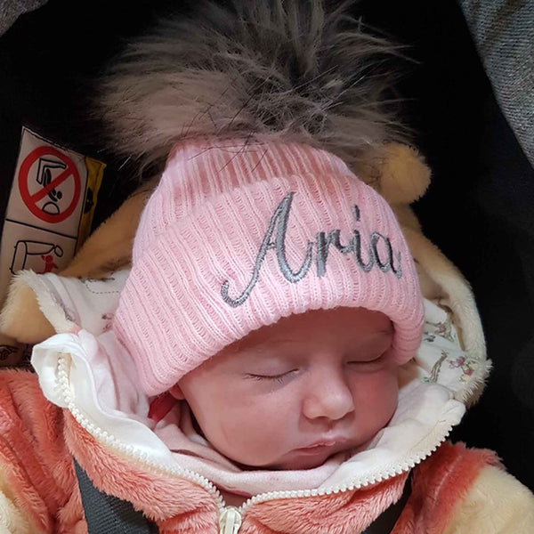 Girls Pink Baby Pom Pom Hat-Option to Personalise / Add Name