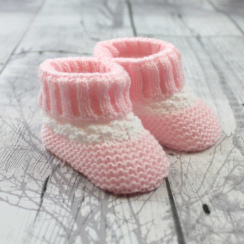 Baby girl pink white Knitted Booties Newborn to 6 months