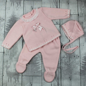 Newborn Knitted Outfit  Baby Girl Pink  Top, Trousers and Hat
