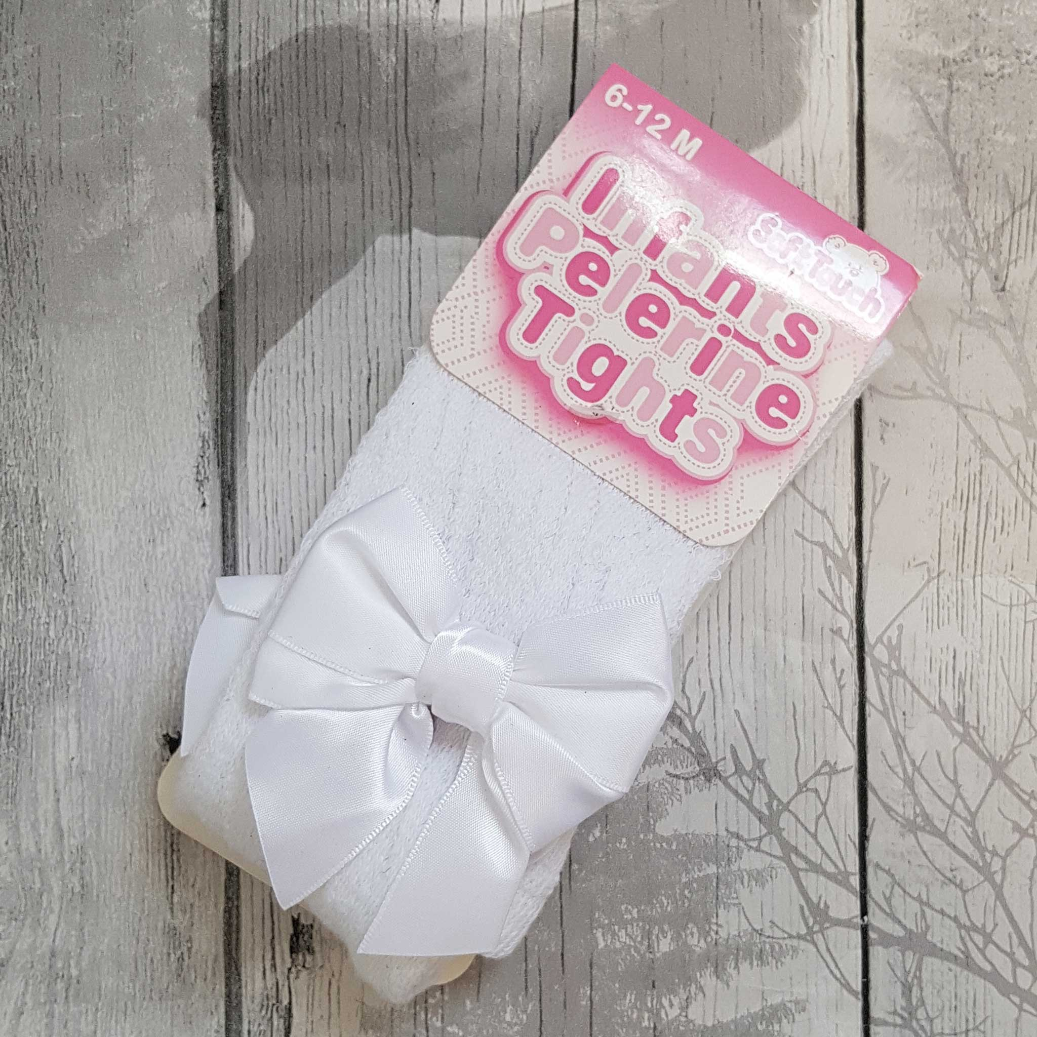 Baby Girls White Pelerine Tights with Satin Bow