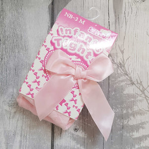 Baby Girls Pink Tights with Satin Bow