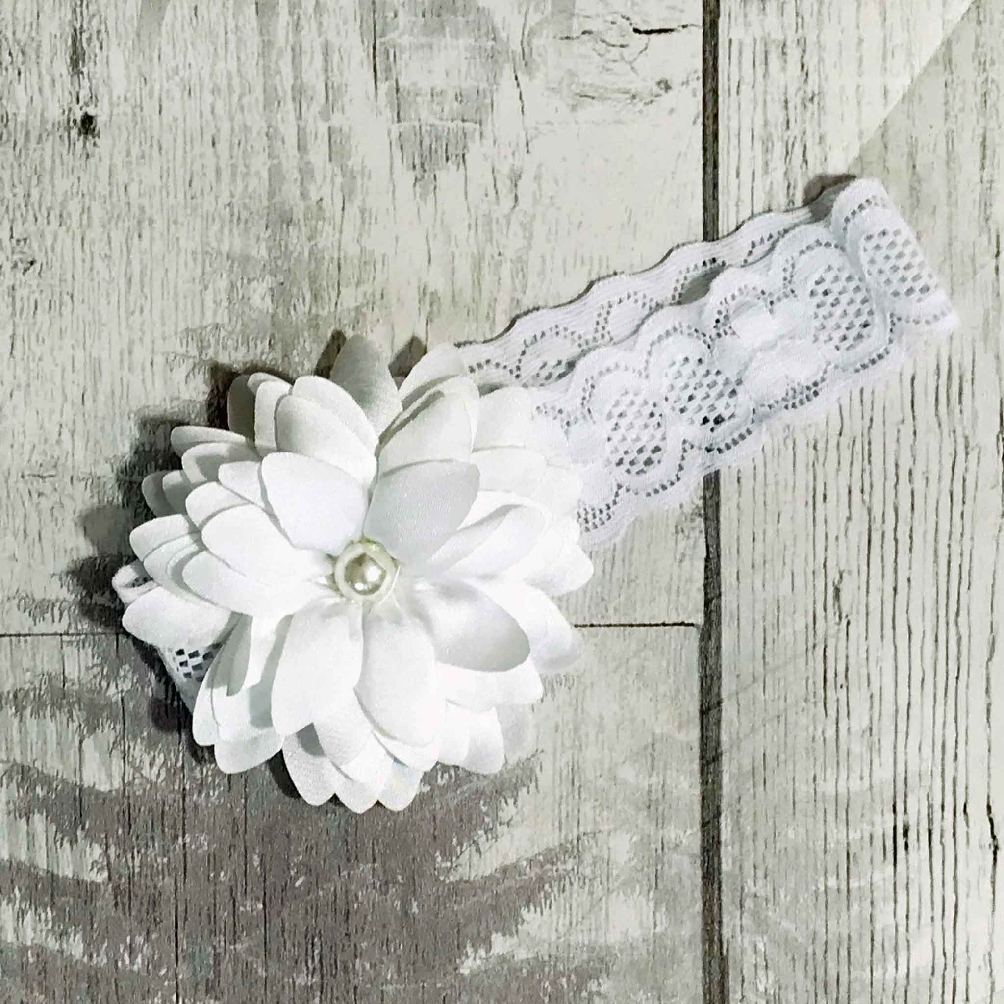 baby girl headband with white flower and pearl