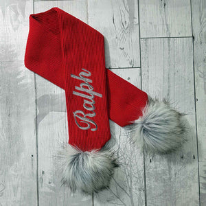 Personalised Baby Scarf Red with Faux Fur pom poms