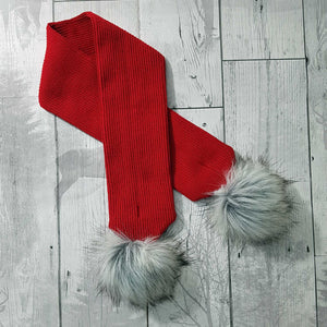 baby scarf with fur pom poms red