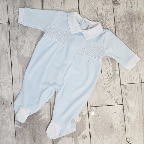 baby blue velour baby grow