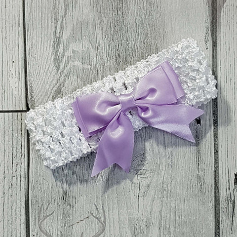 baby headband with lilac bow