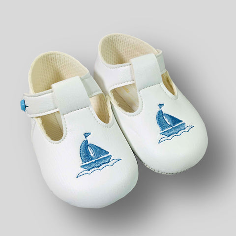 Baby Boy White Pram Shoes with Soft Sole and T Bar and Yacht Embroidery