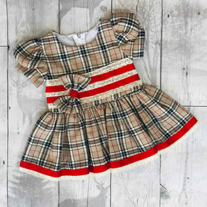 Baby Girls Beige Tartan Dress with bows