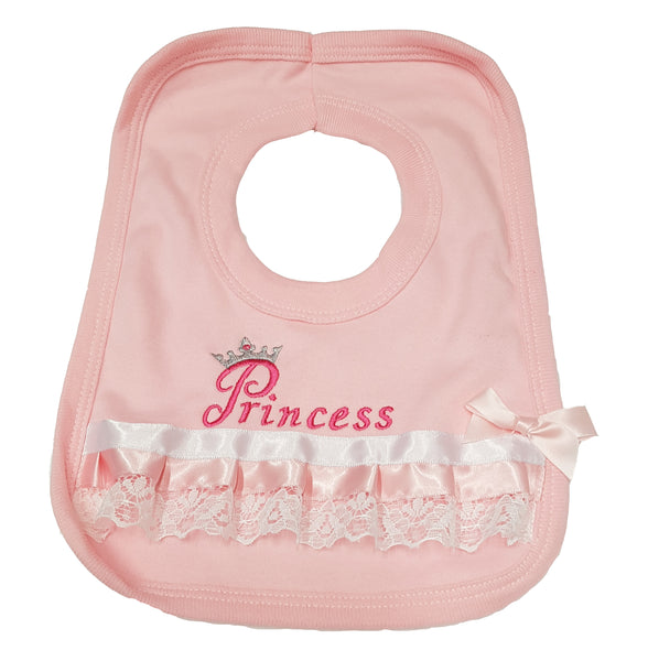 Baby Girl's Fancy Pink Princess Bib - with embroidery, ribbon and lace