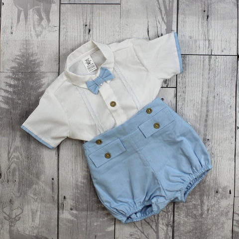 Boys Blue Shorts and White Shirt Summer Outfit