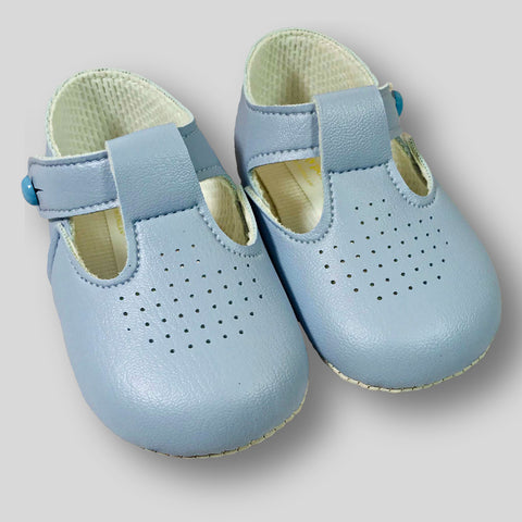 Baby Boy Blue Pram Shoes with Soft Sole and T Bar