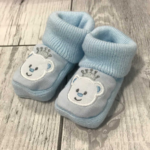 Blue Booties - with embroidered bear - Newborn to 6 months