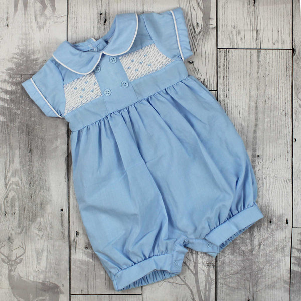 Baby Boys Blue Romper with Traditional Smocking