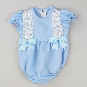 baby boy blue romper with smocking