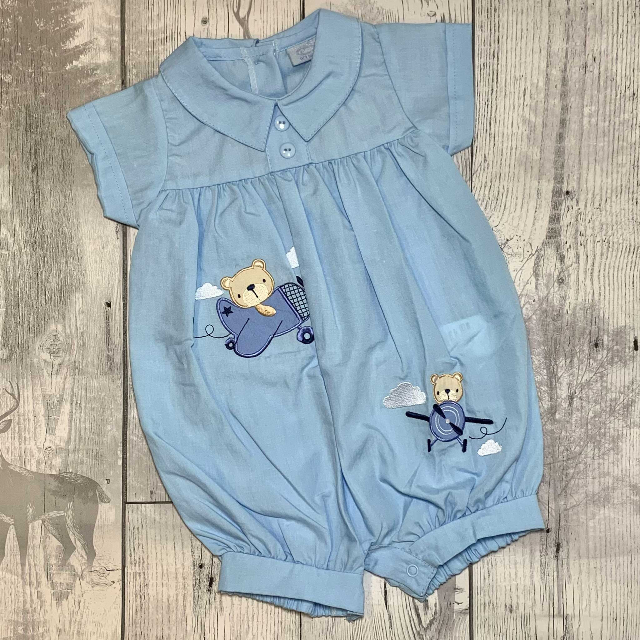 Baby Boys Blue Romper with Applique Bears