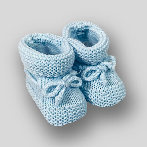 Baby Boy Booties - Blue knitted baby shoes - Newborn to 6 months