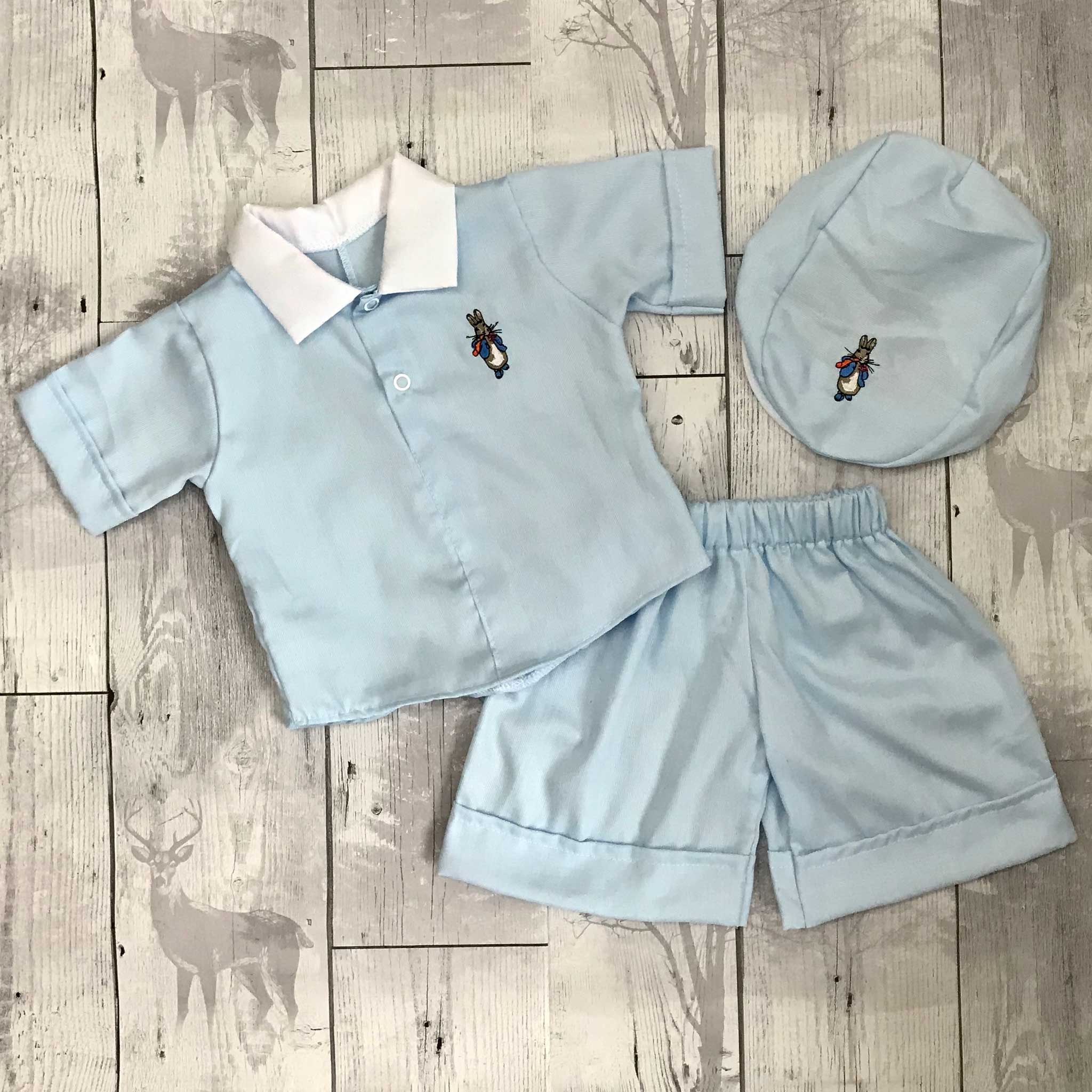 baby boys set with rabbit motif