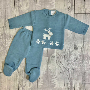 Baby Boys Dusky Blue  knitted Two Piece Outfit