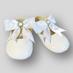Crib Shoes - White with Satin Bow and diamante