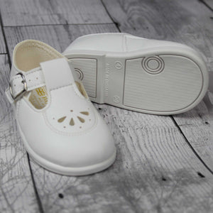 Baypods First Walker Shoes - Hard Sole White T Bar