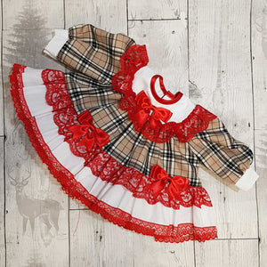 Baby Girl Frilly Puffball Dress - Beige Tartan