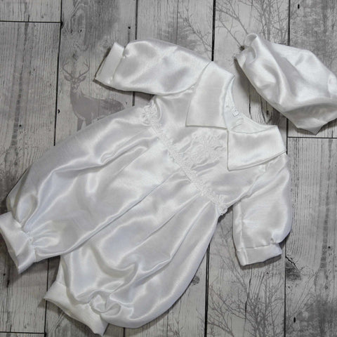 White Christening Romper with Hat