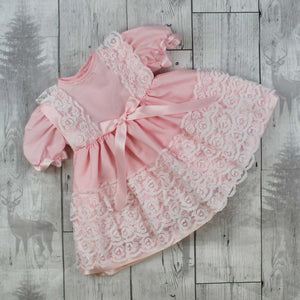 Baby Girl Frilly  Dress with Pink Bow and Lace