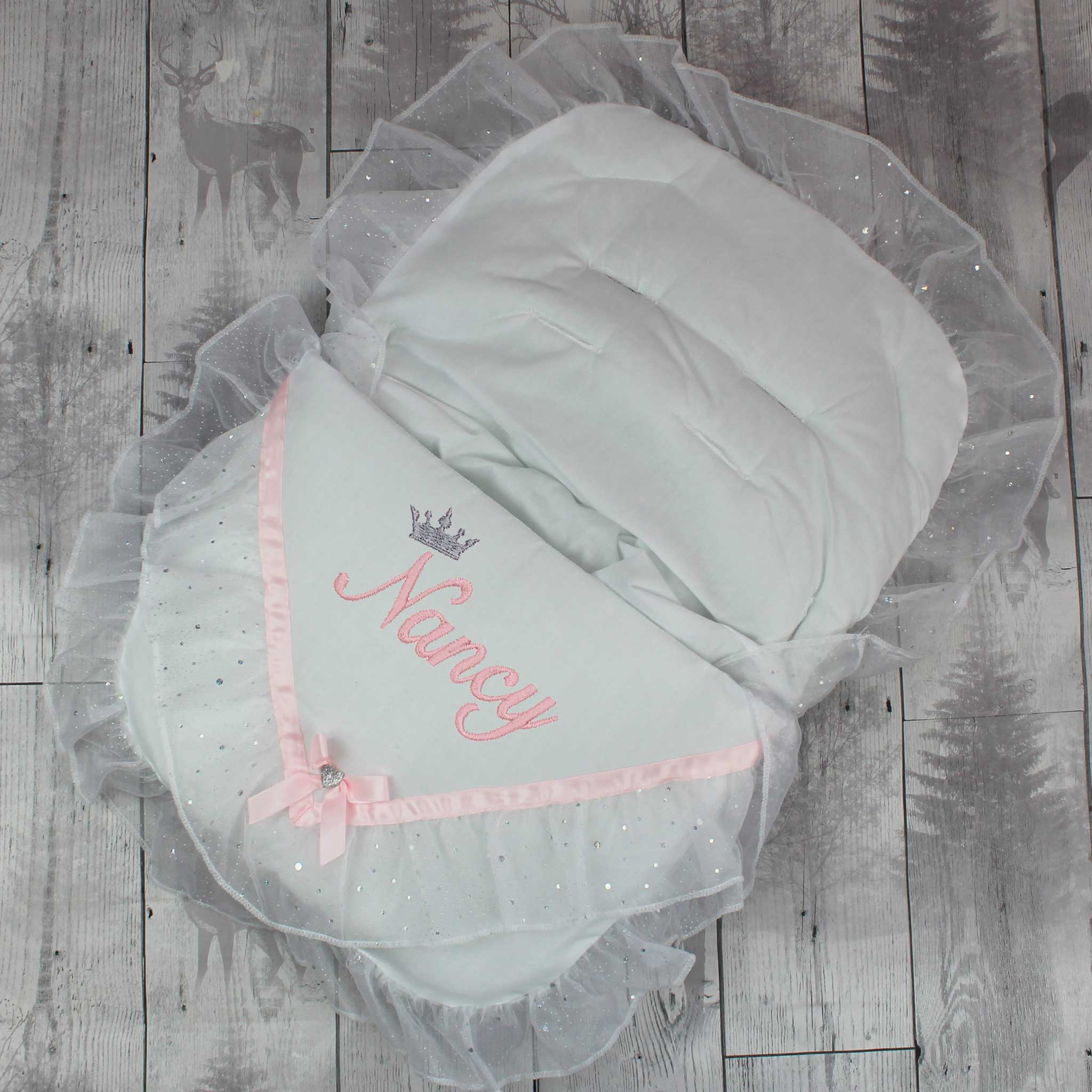 Personalised Fancy Car Seat Cosy Toes / Footmuff - White / Pink