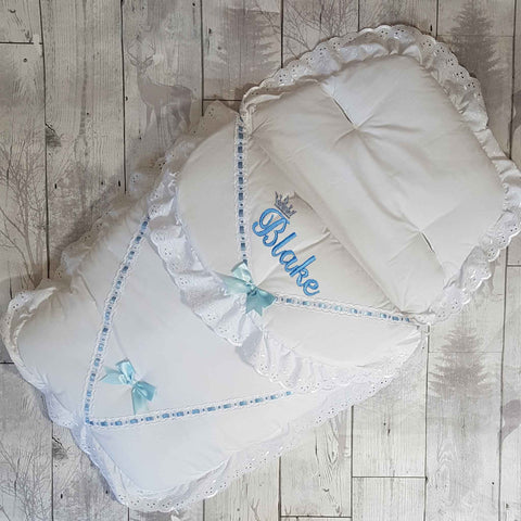 Personalised Cosy Toes / Footmuff - Universal White Blue