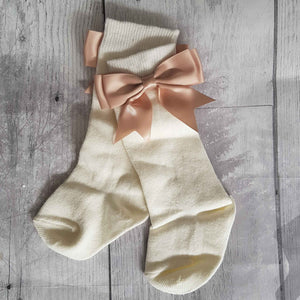 Baby Girl  Cream Bow Socks - Knee High with Camel Bow