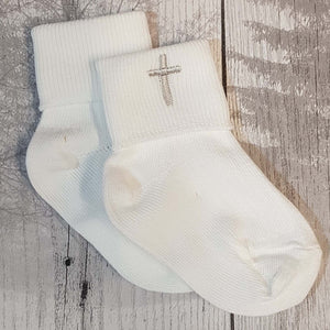 baby white socks for christening baptism with cross