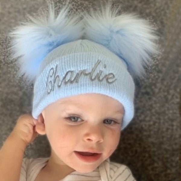 personalised baby double pom hat