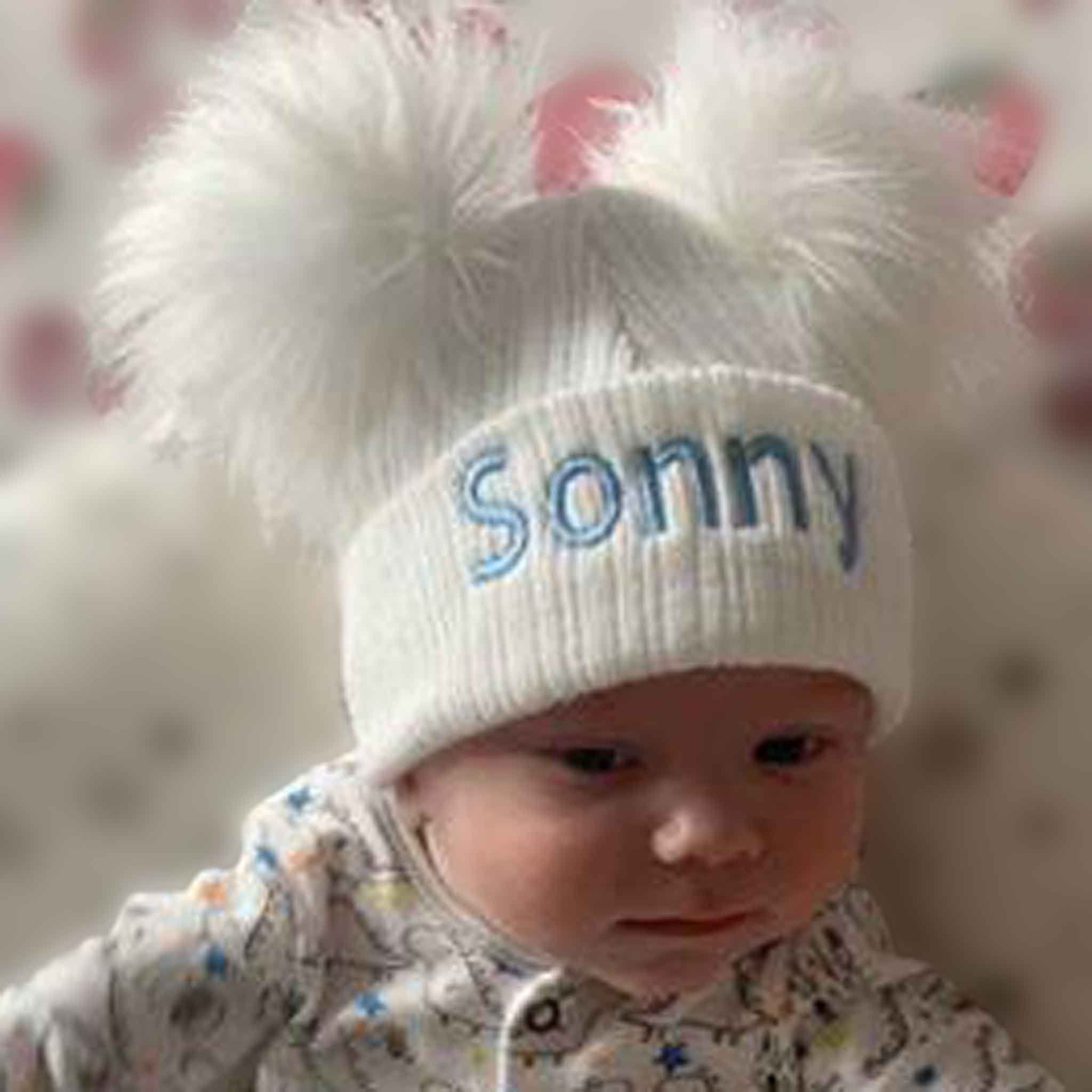 personalised baby hat white with two pom