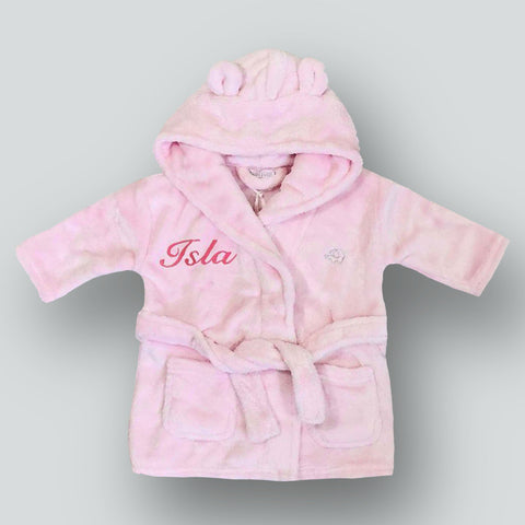 Personalised Baby Dressing Gown -Pink