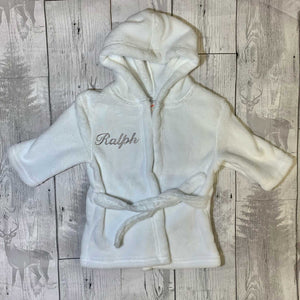 Personalised Baby Dressing Gown - White